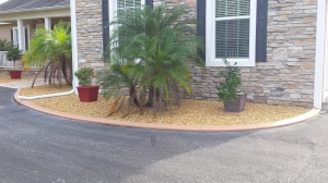Owners elected to paint the curbs with Driveway Paint, which can be any color that the homeowner chooses! Note: Don't use concrete stain!